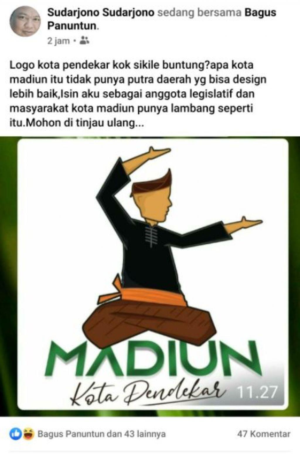 Salah satu netizen mengkritik logo Madiun Kota Pendekar
