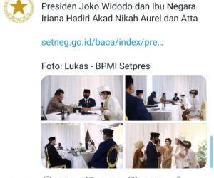 Sekretariat Negara Unggah Foto Nikahan Atta-Aurel, Jadi Trending Topic